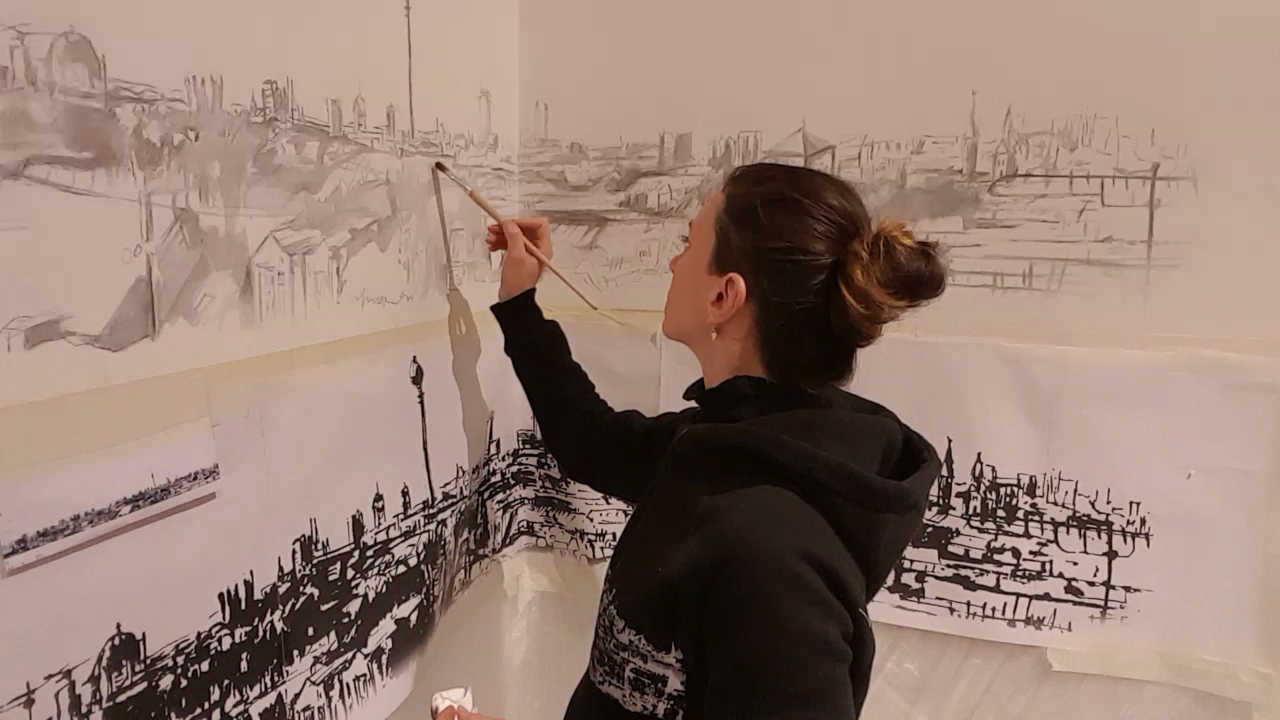 Workinprogress Wall painting in Commodus, architect office (Berlin-Neukölln)- Skyline of Berlin (Urban Sketch of the Berliner Panorama in Klunkerkranich)