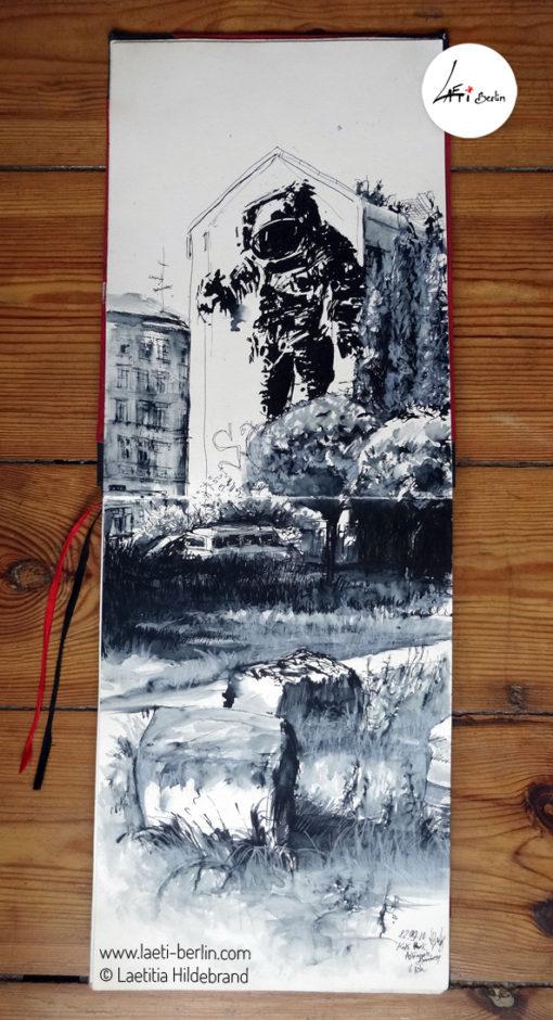 "Urban Sketch ""Astronaut Cosmonaut"" (Berlin- Kreuzberg), Sketch Book- 22/09/10 © Laetitia Hildebrand"