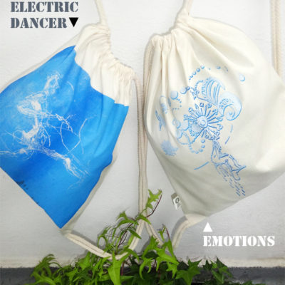 Gym Bag Electric Dancer - natural, Laeti-Berlin, blue gradation