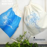 "Gym Bag natural - silver/blue- ""Emotions"", Laeti-Berlin"