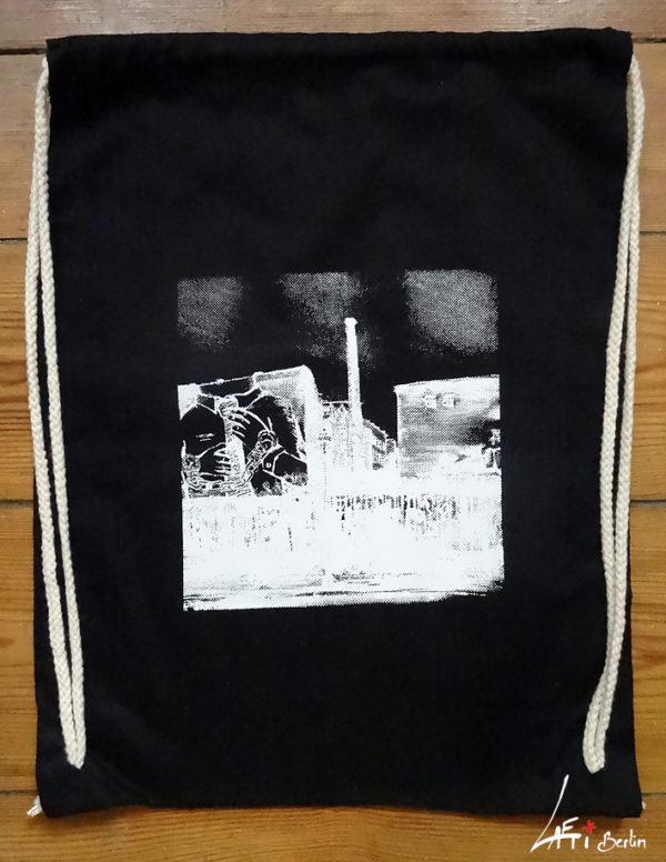 """Face Gym Bag Black- Urban Sketch of """"Cuvrystr."""", Graffiti Blu"""