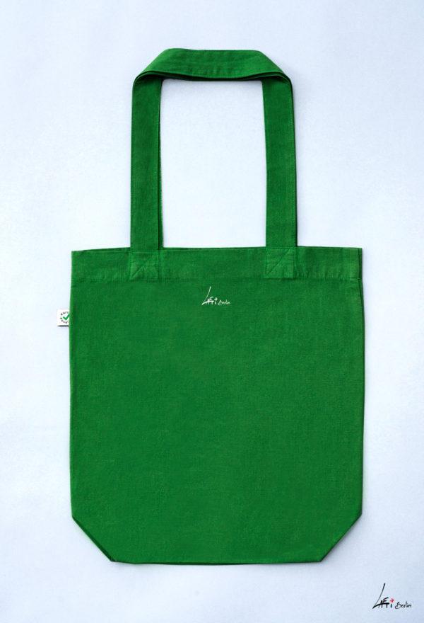 verso- Tote bag colored Cuvrystr. leaf green Laeti-Berlin
