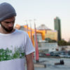 T-Shirt Potsdamer Platz white Tencel Green print Man