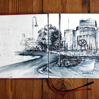 Urban Sketch Postcard Volksbühne, Laeti-Berlin