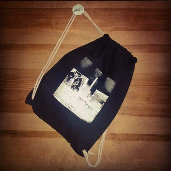 "Gym bag Black, Laeti-Berlin, UrbanSketch of Blu Graffiti (souvenir ""Cuvrystr."") Berlin-Kreuzberg, bio & fairtrade textil"