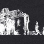 Anhalter Bahnhof -urban sketch- white on black screenprinted - zoom