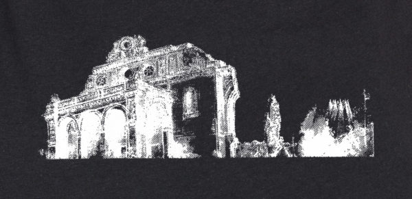 Anhalter Bahnhof -urban sketch- white on black screenprinted - zoom