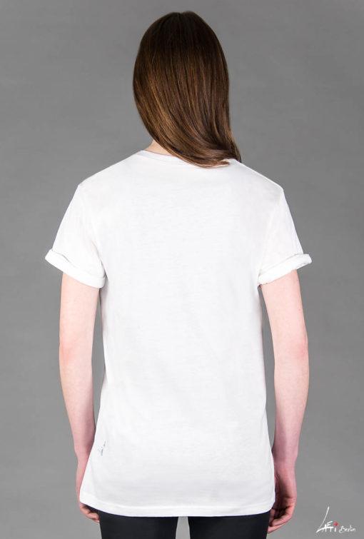 Back- T-shirt Rolled Sleeve, White- Unisex
