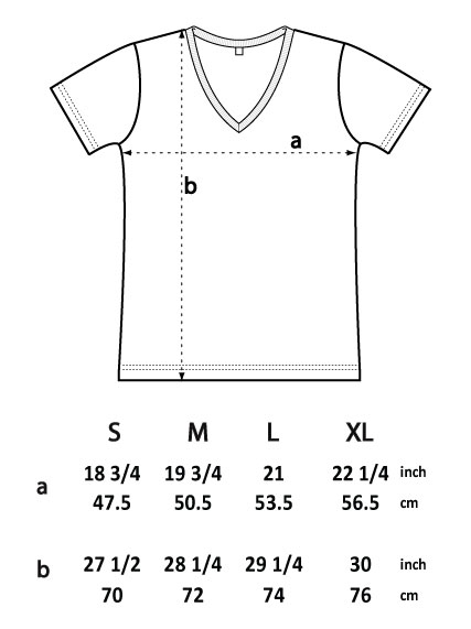 T-shirt dimensions-ep03v, V-Neck Man