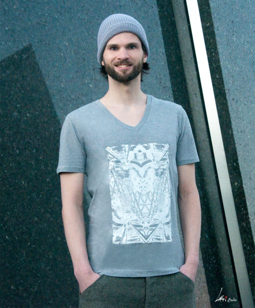 T-shirt Alliage Symetrie Melange grey V-Neck Man- zoom