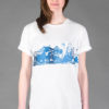T-shirt Potsdamer Platz Rolled Sleeve White Blue print Unisex