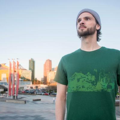 T-shirt Potsdamer Platz Vintage green- Green print Man