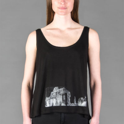 Top Anhalter Bahnhof black - Tencel -White print- Woman