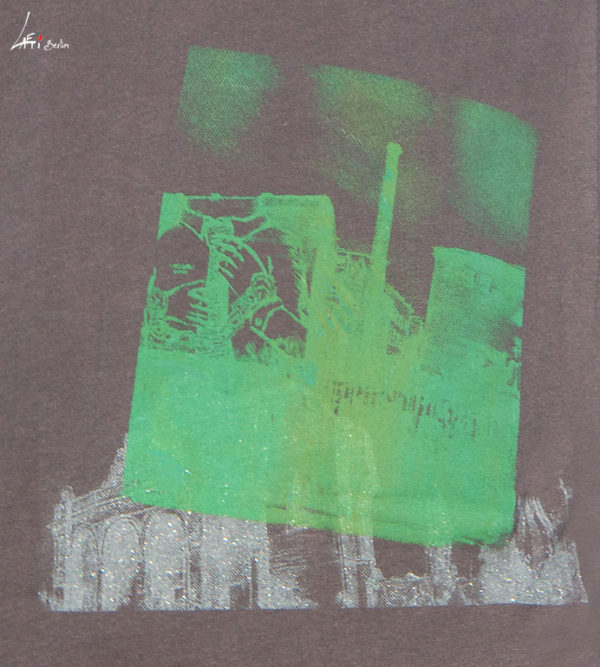 Zoom-patterns, T-shirt Cuvrystr. / Anhalter BhfVintage charcoal- Green / silver print Man