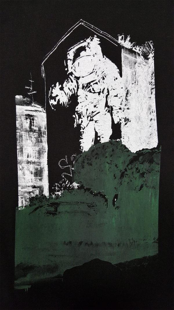 Print Astronaut-Kosmonaut, White and Green Charcoal (gradation)