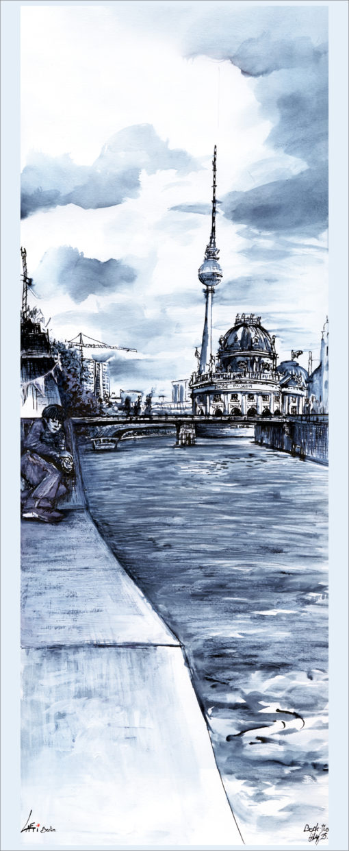 Poster Bode-Museum Spree Urban Sketch Berlin vertical
