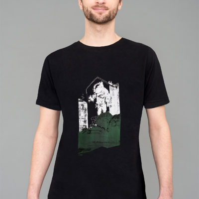 T-shirt Astronaut-Kosmonaut Black White Green charcoal print Man