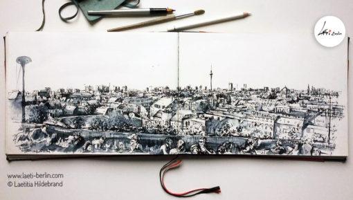 Urban-Sketch book- Panorama-Berlin--Klunkerkranich ,Laeti-Berlin
