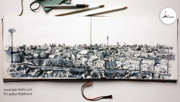 Urban-Sketch book- Panorama-Berlin--Klunkerkranich ,Laeti-Berlin