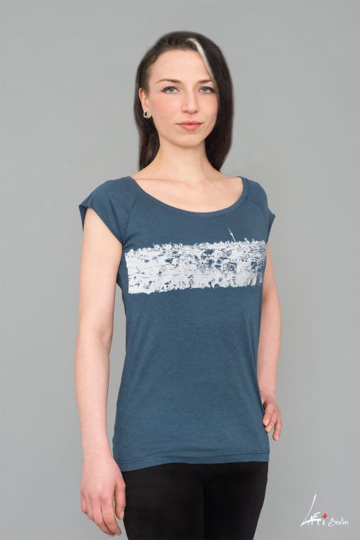 T-shirt Bamboo, Denim Blue- Woman, Raglan - Panorama Berlin, Klunkerkranich