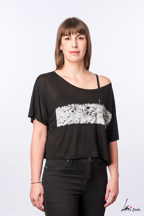 Klunkerkranich-FACE-T-shirt Tencel -BLACK- Woman
