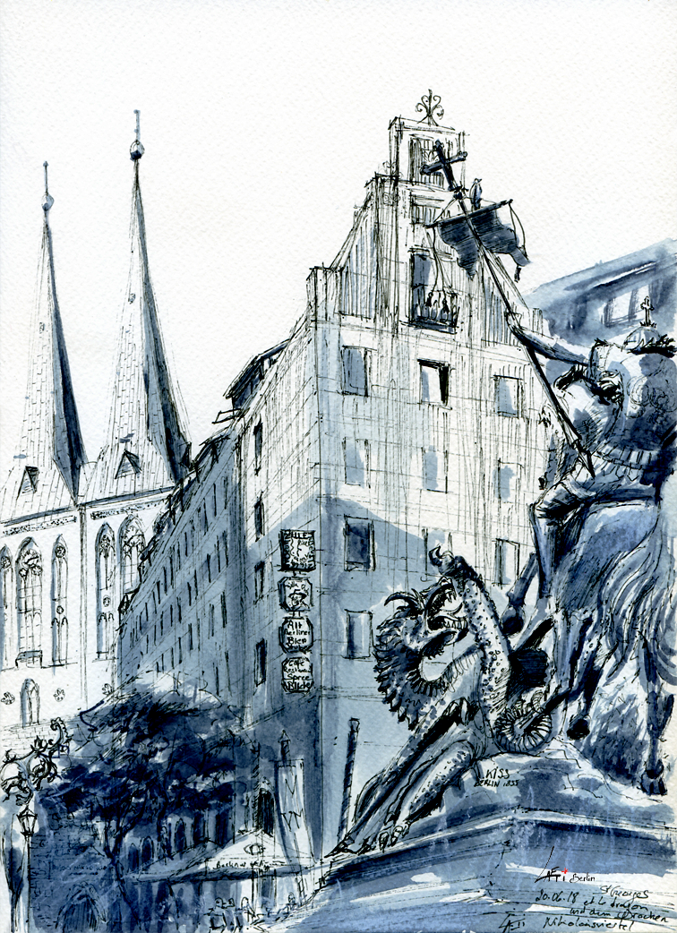 20.06.18- St Georges and the dragon, Nikolaiviertel (Berlin-Mitte)