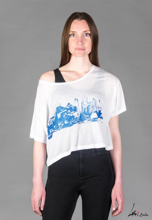 Potsdamer Platz blue-FACE-T-shirt Tencel -WHITE- Woman