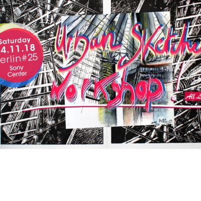 Banner HOME URBAN SKETCHES WORKSHOP Berlin 25- 24.11.18- Sony Center, Laeti-Berlin